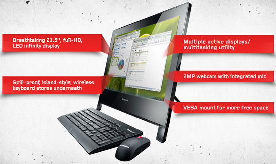 Lenovo ThinkCentre Edge 91z 21.5 inch All-In-One Desktop PC Core i5 2400S 2.5GHz, RAM 4GB, HDD 500GB, DVD±RW, LAN, Webcam, Windows 7 Professional 64-bit