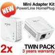 Tenda P200 200Mbps Homeplug AV Powerline Network Mini Adapter Twin Pack