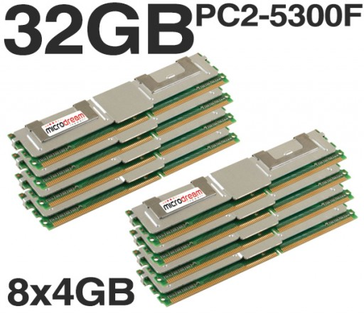32GB (8x4GB) DDR2 PC2-5300F 667MHz ECC Fully Buffered SERVER MEMORY RAM HP DELL