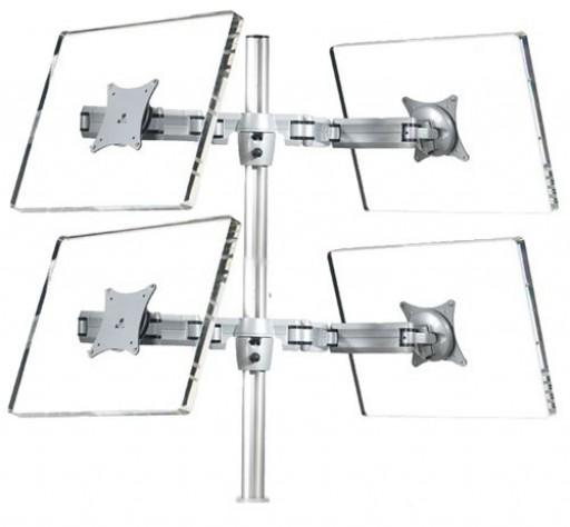 Quad Four Monitor Mount Bracket Arm Desk Stand TV LCD Tilt VESA Silver
