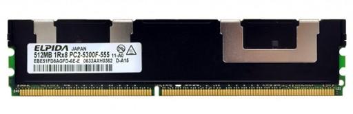 512MB PC2-5300 DDR2 DIMM 240Pin CL5 Elpida ECC Server Memory EBE51FD8AGFD-6E-E