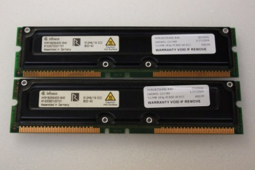 1GB Kit Pair Infineon ECC PC800 RAMBUS RDRAM RIMM Memory HYR1825640G-840