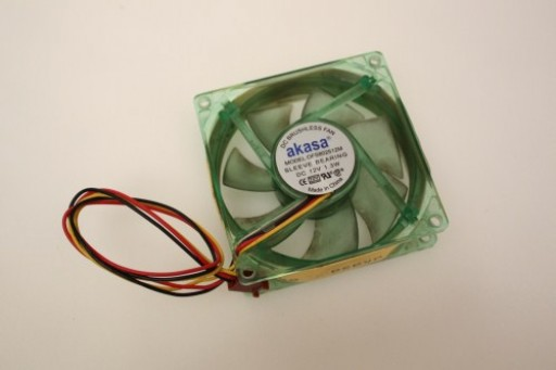 Akasa DFS802512M Green LED Case Cooling Fan 80mm x 25mm