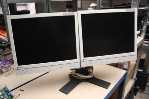 "Dual 15-Inch EIZO L365 15"" LCD TFT Monitor Twin Stand"