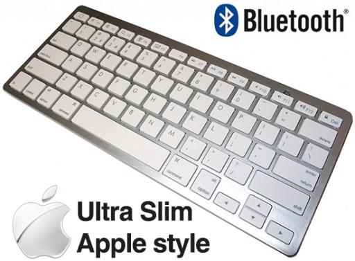 Ultra Slim Silver White 78 Keys Wireless Bluetooth Qwerty Keyboard