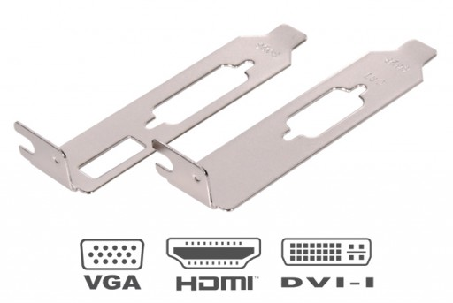 Low Profile HDMI DVI and VGA Brackets for Low Profile Graphics Cards (1 Pair)