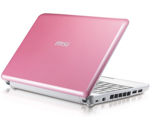 "MSI Wind U100 10"" Netbook Intel 160GB WebCam WiFi Windows XP - Pink"