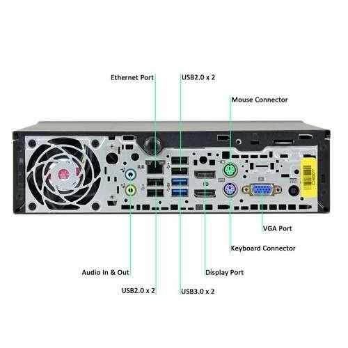 HP EliteDesk 800 G1 Ultra Slim Desktop PC - Intel Quad Core i5-4570s 2 9GHz  8GB 256GB SSD USB 3 0 DVD WiFi Windows 10 Professional