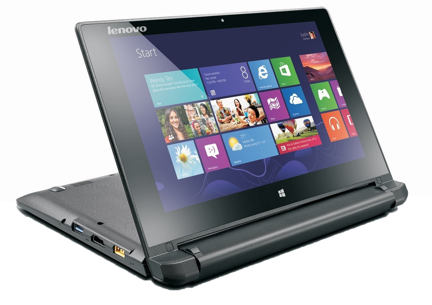 Lenovo Flex 10 1-inch Multimode Touchscreen Laptop (Black) - (Intel CDC  N2806 2 0GHz, 2 GB RAM, 320 GB HDD, Integrated Graphics, Webcam, HDMI,