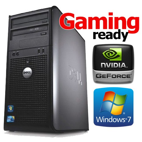Complete Gaming Ready Dell Tower Core 2 Duo GeForce 1GB HDMI DVI Windows 7  PC Computer