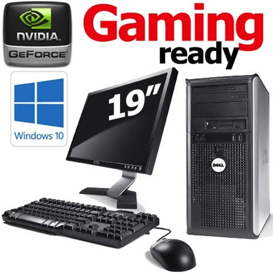19inch monitor gaming ready dell optiplex tower 4gb gt 710 hdmi windows 10 pc