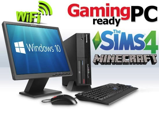 Complete Set of Gaming PC Lenovo ThinkCentre WiFi GeForce GT710 HDMI  Windows 10 PC Computer