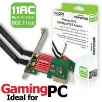 Addon AWP1200E Wireless AC Dual Band 1200Mbps PCI-E Adapter - 802.11a/b/g/n/ac